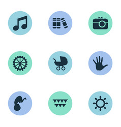 Set of simple infant icons vector