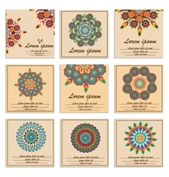 Set ornamental flower mandala greeting cards vector image vector image