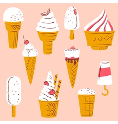 set with ice cream vector image vector image