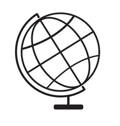 terrestrial globe icon on white background vector image vector image