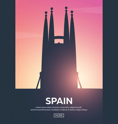 Travel poster to spain landmarks silhouettes vector