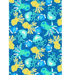 Underwater creatures repeat pattern vector