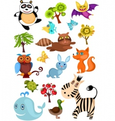 wild animal set vector image