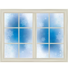 Winter window snowflakes vector