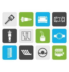 Flat realistic car parts and services icons vector