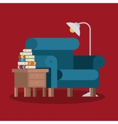 Livingroom library design vector