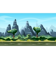 Cartoon nature landscape with trees and mountains vector
