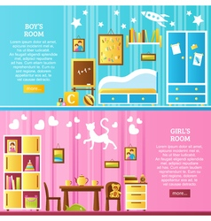 Baby room interior horizontal banners vector