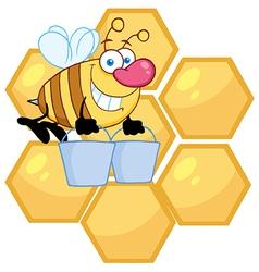 Worker Bee Carrying Two Buckets Over Honey Combs vector image