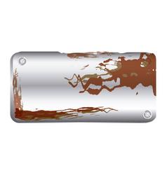 Metallic plaque rusted with screws vector
