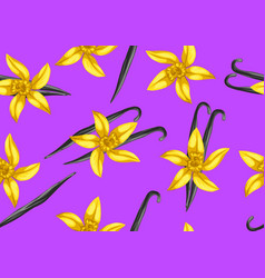 Seamless pattern with vanilla sticks and flower vector