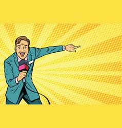 Joyful tv reporter broadcasts live vector