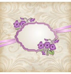 Label with flowers vector