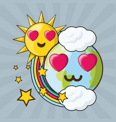 Adorable earth and sun over colorful rainbow vector
