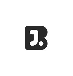 Monogram logo made from black letters b and j vector