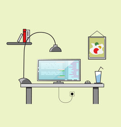 Creative office desktop workspace yellow vector