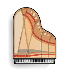 black grand piano opened icon with shadow vector image
