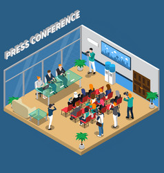 Press conference isometric composition vector