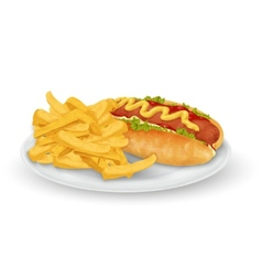 Hot dog french fries vector