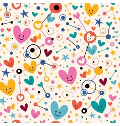 Hearts dots and stars funky cartoon pattern vector