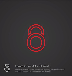 Lock outline symbol red on dark background logo vector