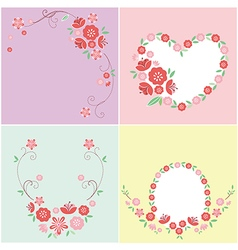 Pink flower greeting card vector