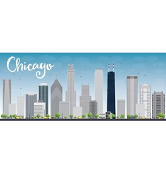 Chicago city skyline with grey skyscrapers vector