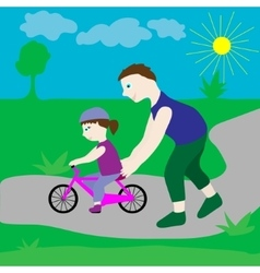 Dad with his daughter and a bicycle vector