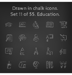 Education icon set drawn in chalk vector