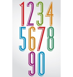 Colorful comic animated tall numbers with white vector