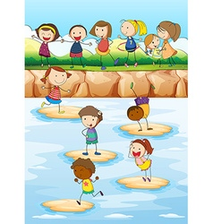 Children playing on the cliff vector image