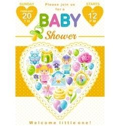 Baby shower invitation design in unisex yellow vector image