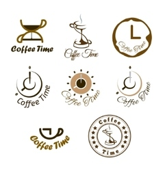 Set of coffee time logo design vector