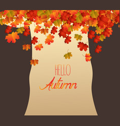 Abstract tree brownie autumn leaves falling vector