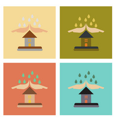 Assembly flat icons nature hand house rain vector