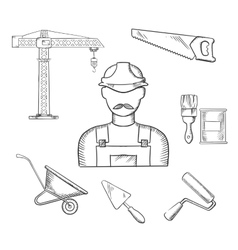 Builder and construction industry sketched icons vector image