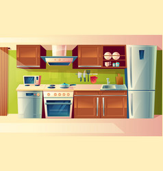 cartoon set of kitchen counter with vector image vector image