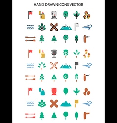 Colorful camping icon set hand drawn vector