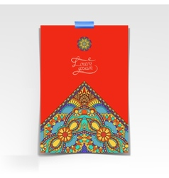 decorative sheet of paper with oriental floral vector image vector image