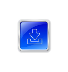 Download icon on blue button vector image