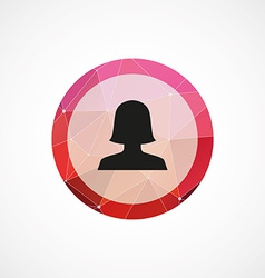 female profile circle pink triangle background vector image