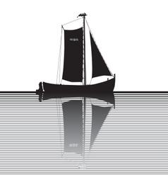 Fisherman ship silhouette vector