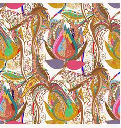 Flat flower elements design cute fabric pattern vector