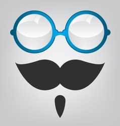 Funny mask blue sunglasses and mustache vector image