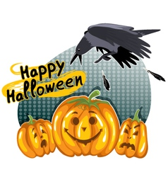 Halloween background with funny pumpkins and crow vector image