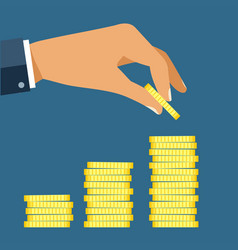 Hand put coin to money staircase profit making vector