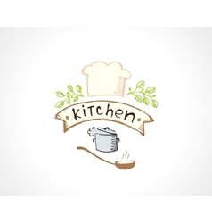 kitchen emblem vector image