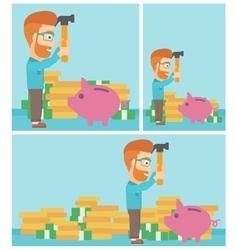 Man breaking piggy bank vector