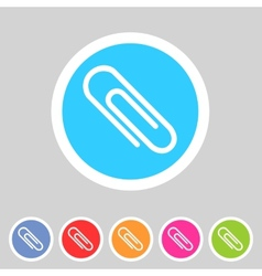 Paperclip badge flat icon sign set symbol vector image vector image