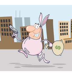 Robber Running Through A City In A Bunny Costume vector image vector image